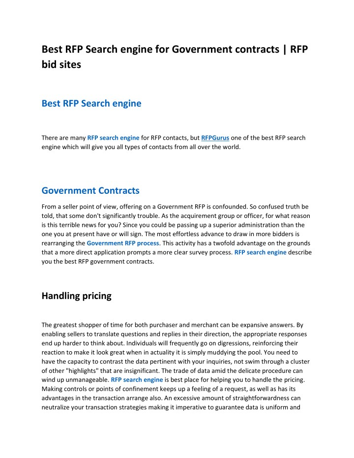 best rfp search engine for government contracts n.