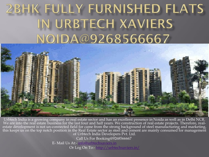 2bhk fully furnished flats in urbtech xaviers noida@9268566667 n.