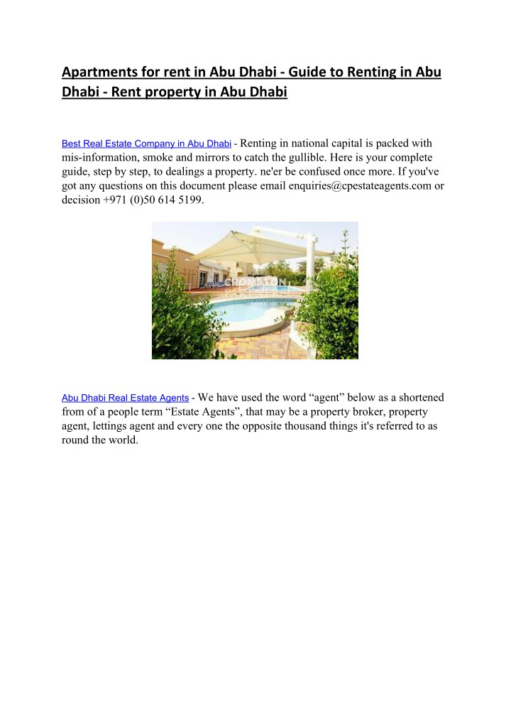 PPT - Rent Apartments in Abu Dhabi - Best Real Estate