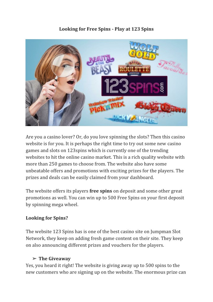 looking for free spins play at 123 spins n.