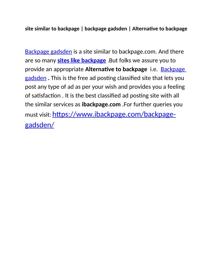 site similar to backpage backpage gadsden n.
