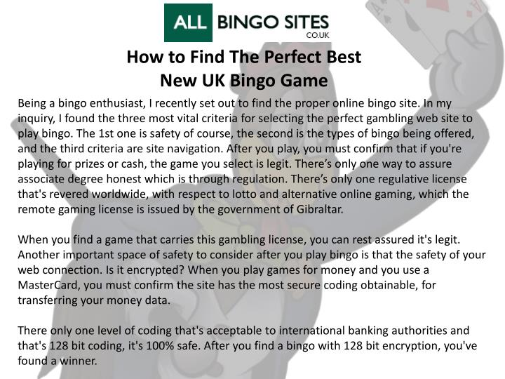 how to find the perfect best new uk bingo game n.