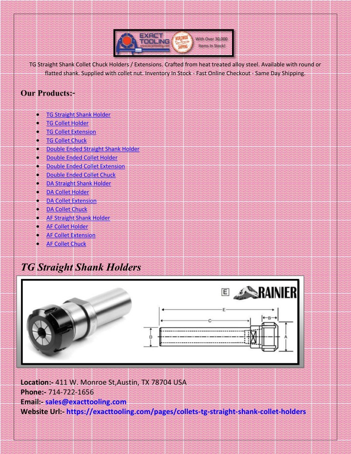 tg straight shank collet chuck holders extensions n.