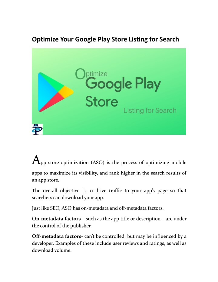 optimize your google play store listing for search n.