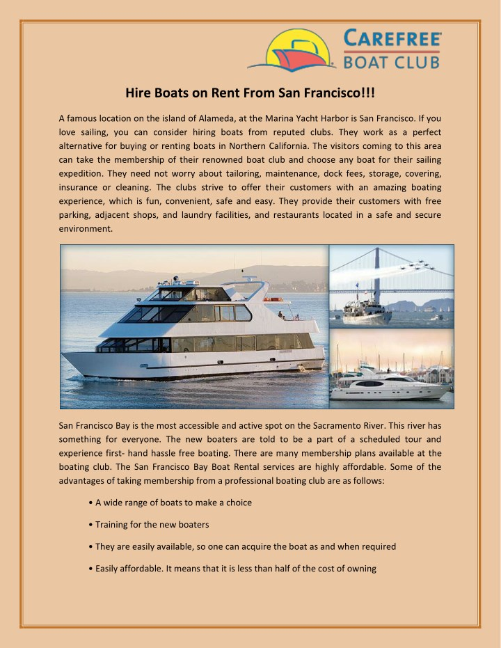 hire boats on rent from san francisco n.