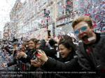 fans celebrate in falling confetti during