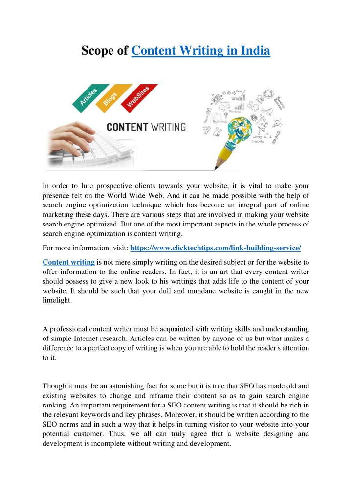 scope of content writing in india n.