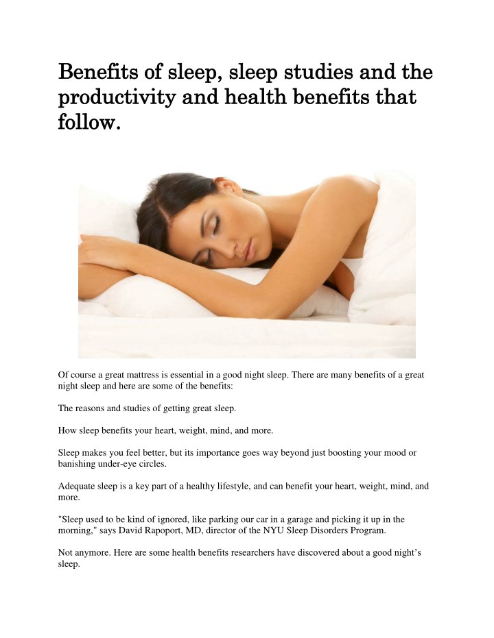 benefits of sleep sleep studies and the benefits n.
