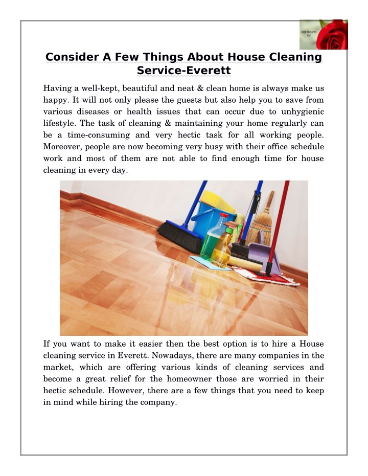 consider a few things about house cleaning n.