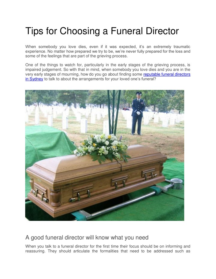 tips for choosing a funeral director n.