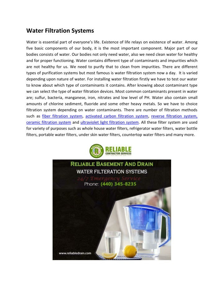 water filtration systems n.