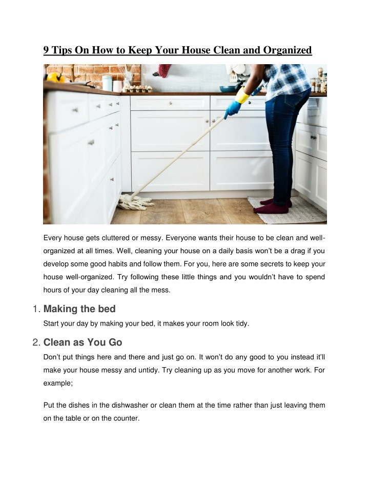 9 tips on how to keep your house clean n.
