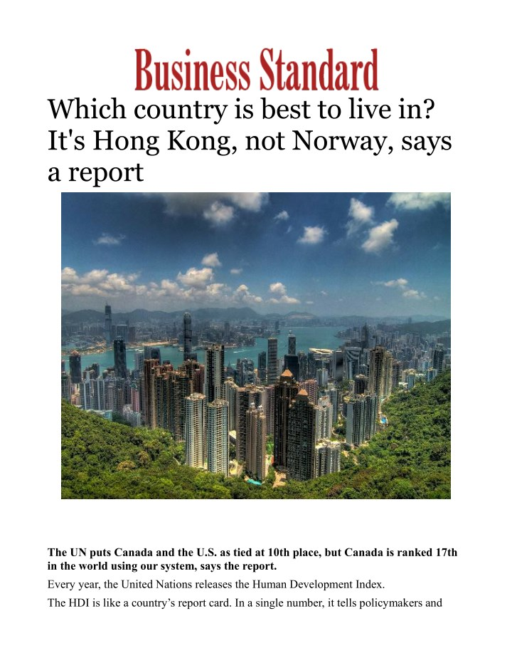 which country is best to live in it s hong kong n.