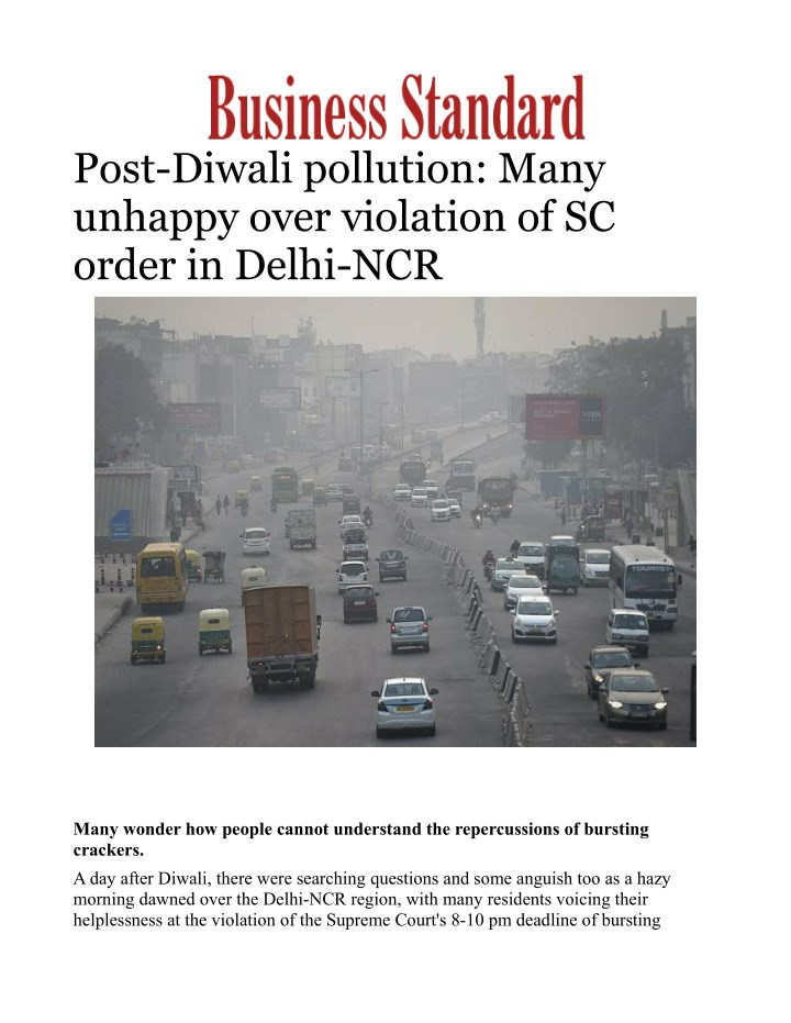 post diwali pollution many unhappy over violation n.
