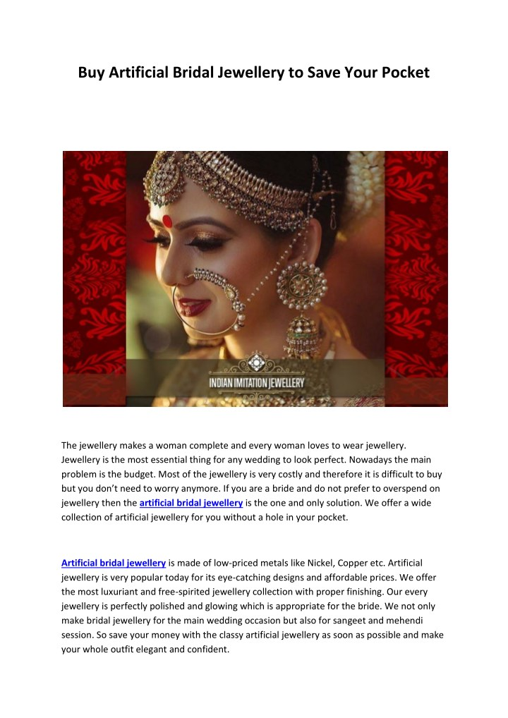 buy artificial bridal jewellery to save your n.