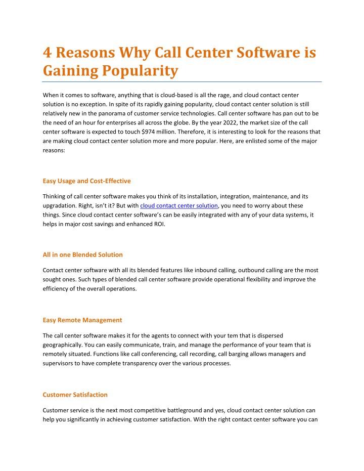4 reasons why call center software is gaining n.