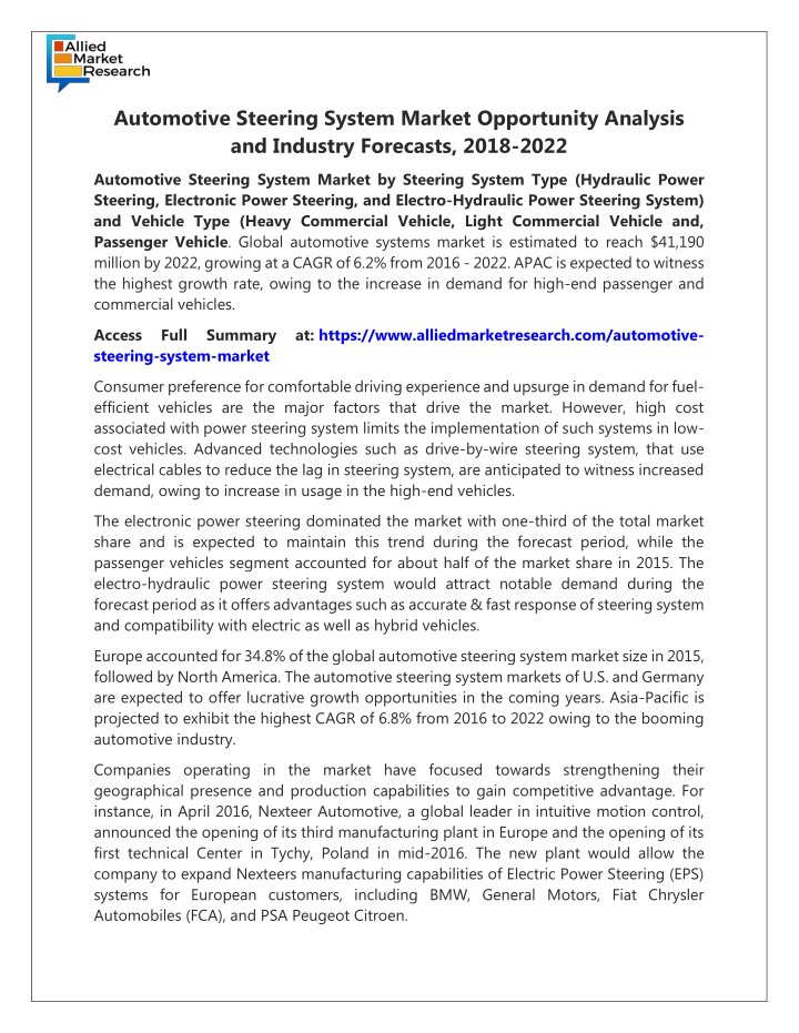automotive steering system market opportunity n.