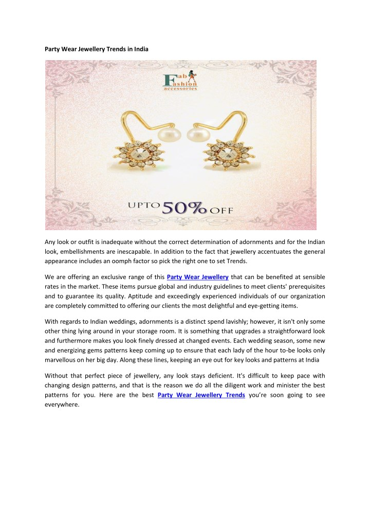 party wear jewellery trends in india n.
