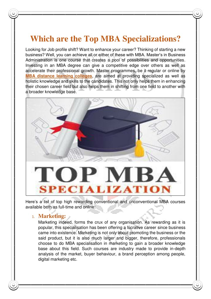 which are the top mba specializations n.