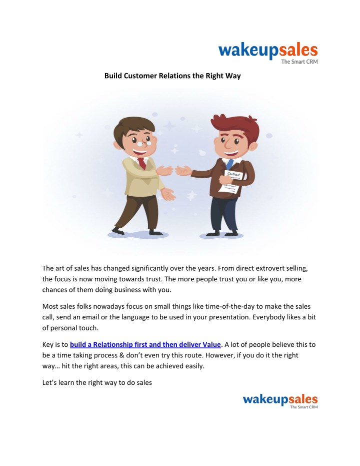 build customer relations the right way n.