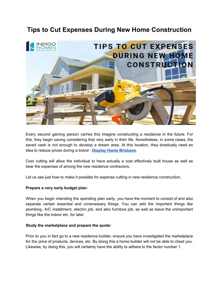 tips to cut expenses during new home construction n.