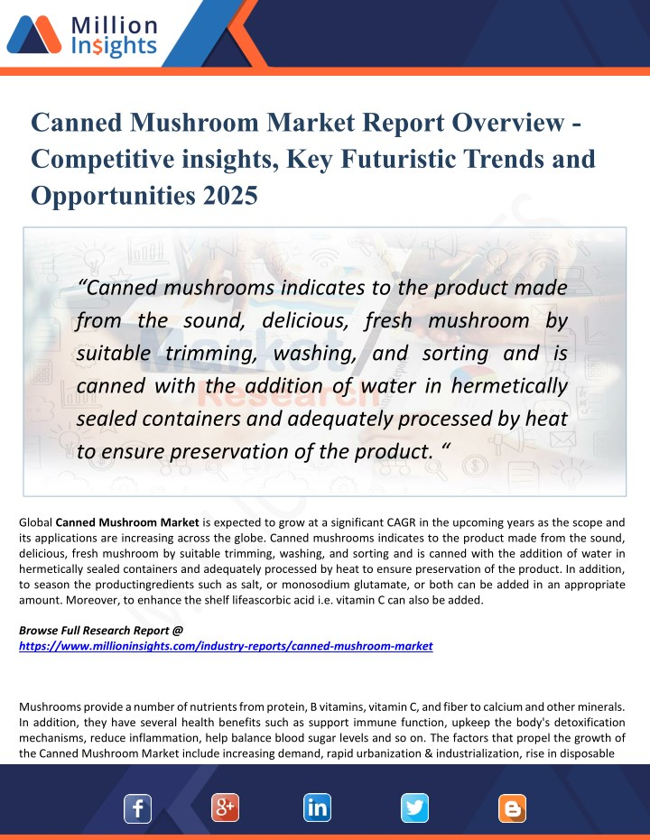 canned mushroom market report overview n.