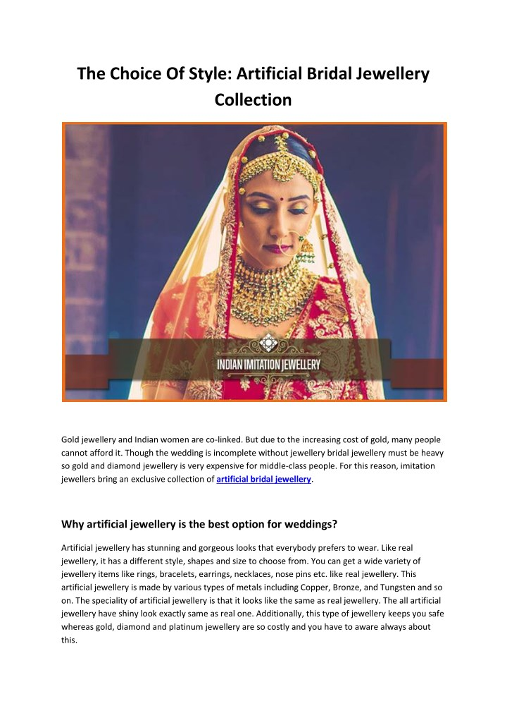 the choice of style artificial bridal jewellery n.