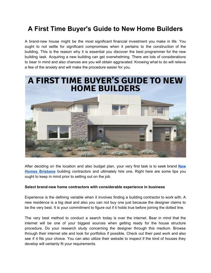 a first time buyer s guide to new home builders n.