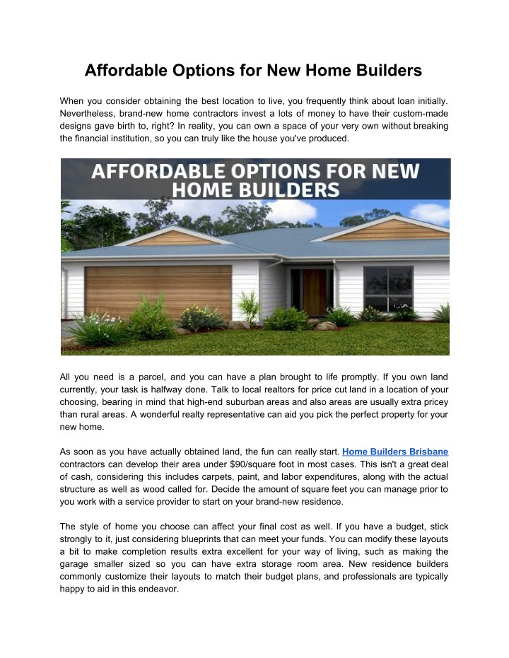 affordable options for new home builders n.