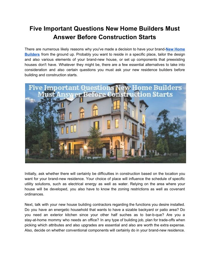 five important questions new home builders must n.