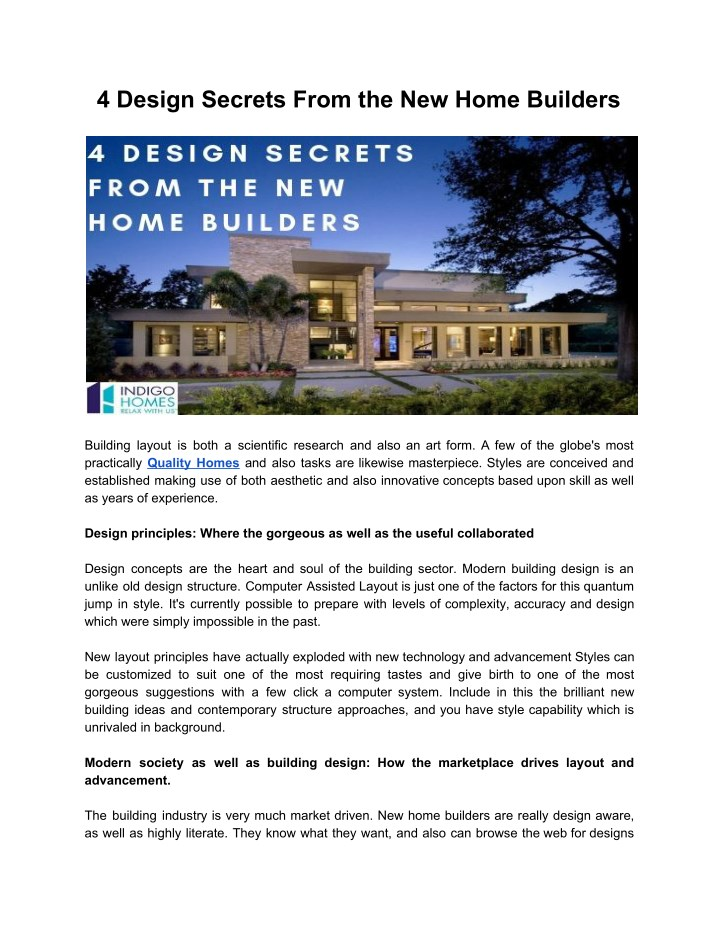 4 design secrets from the new home builders n.