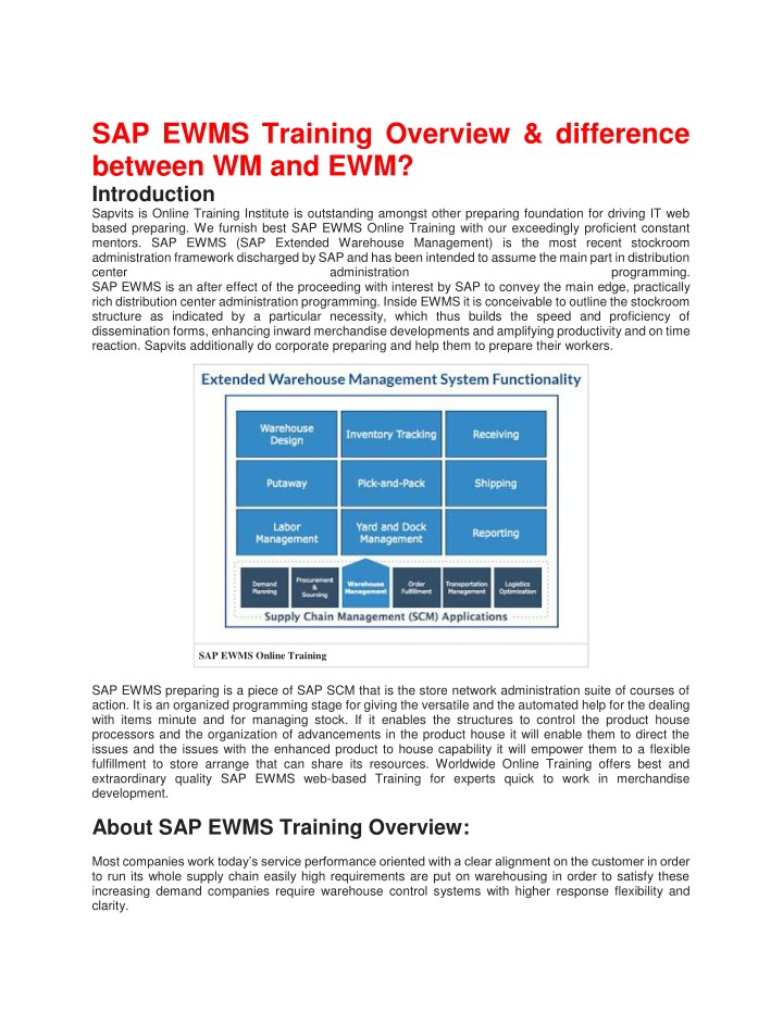 sap ewms training overview difference between n.