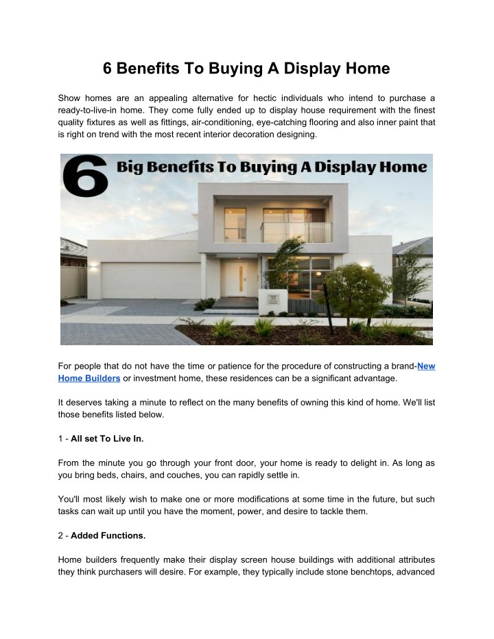 6 benefits to buying a display home n.