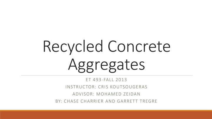recycled concrete aggregates n.
