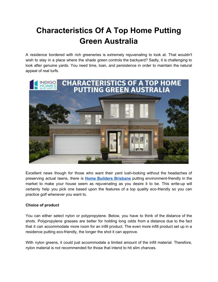 characteristics of a top home putting green n.
