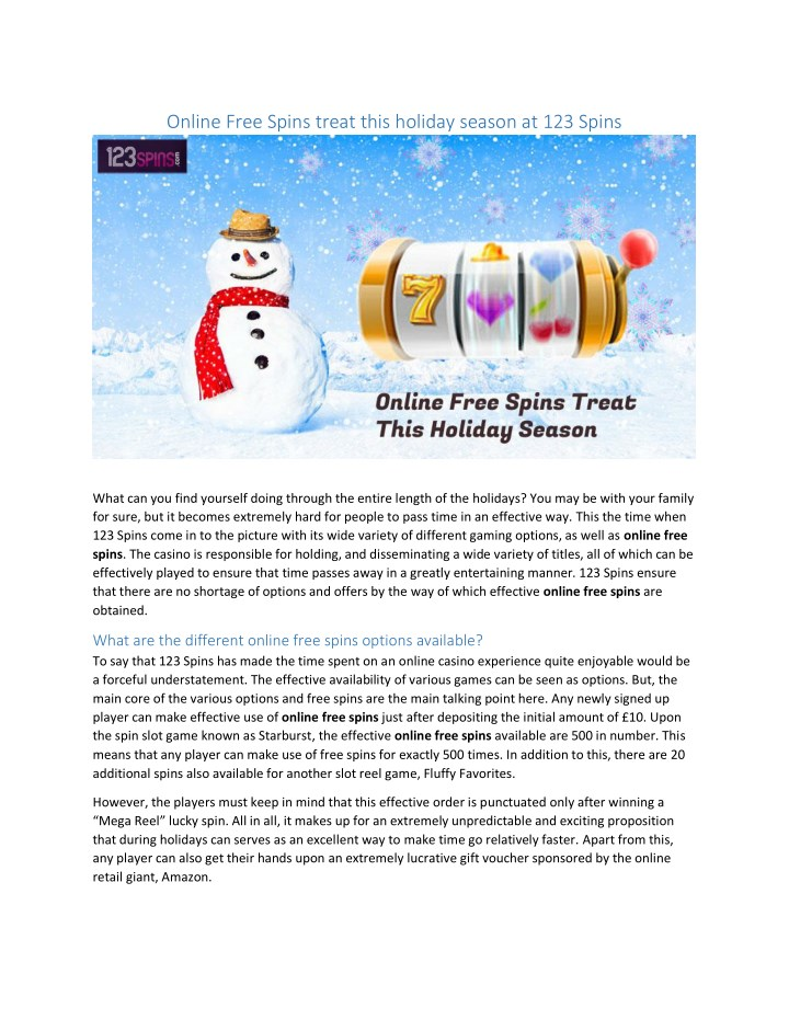 online free spins treat this holiday season n.