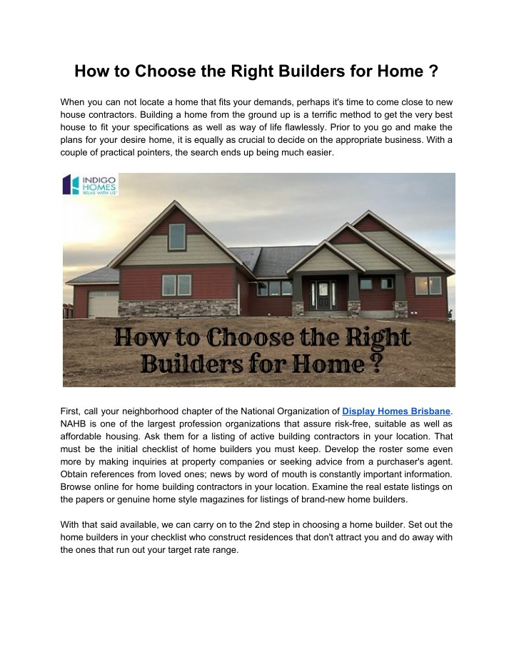how to choose the right builders for home n.