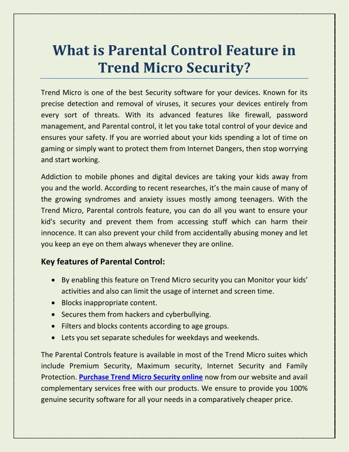 what is parental control feature in trend micro n.
