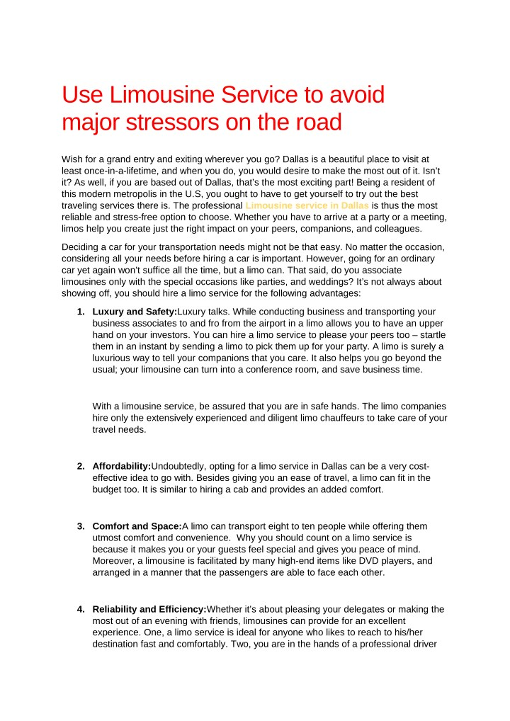 use limousine service to avoid major stressors n.