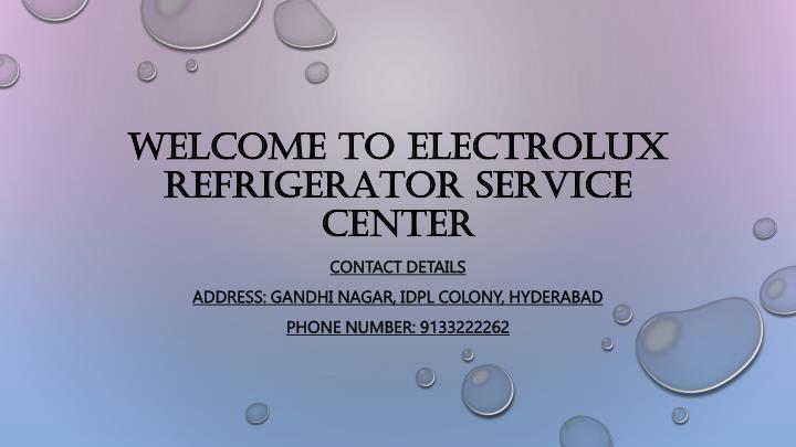 welcome to electrolux refrigerator service center n.