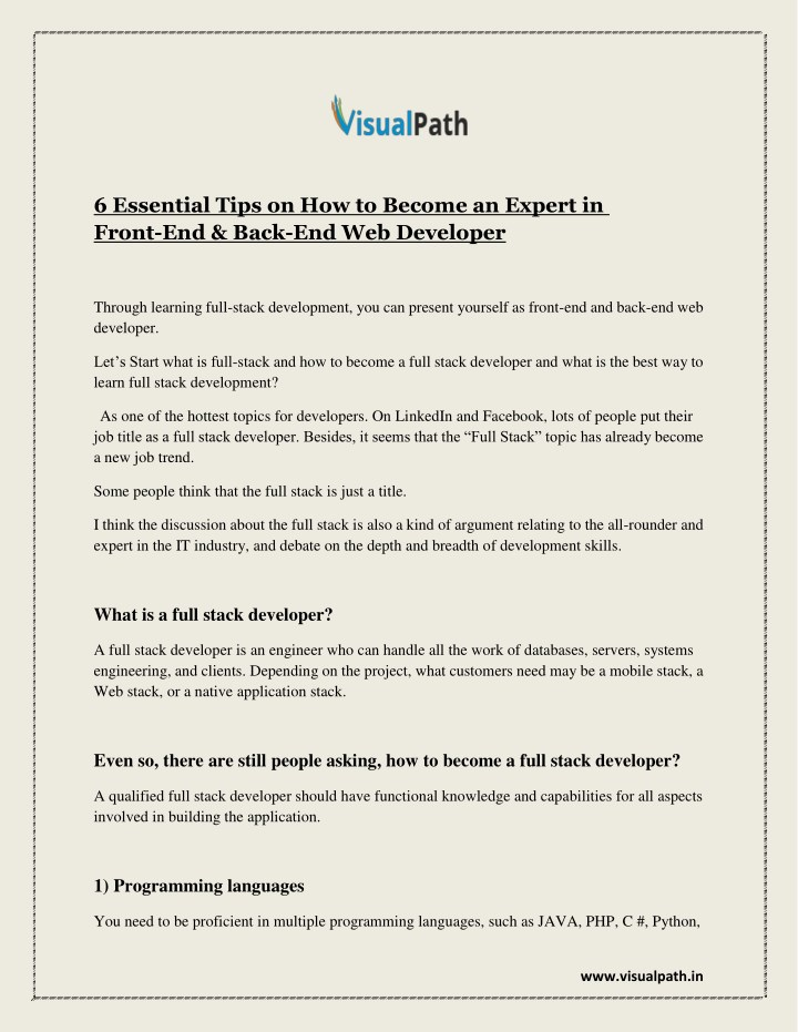 6 essential tips on how to become an expert n.