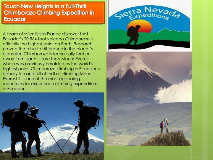 touch new heights in a full thrill chimborazo n.