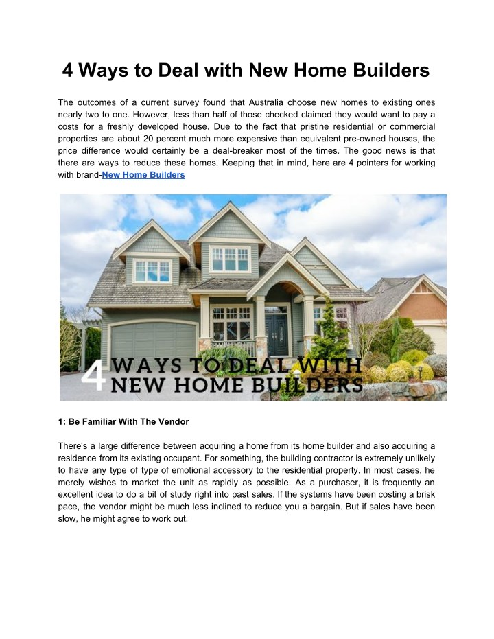 4 ways to deal with new home builders n.