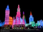 ice sculptures illuminated by colored lights 1