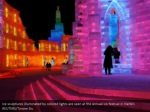ice sculptures illuminated by colored lights 2