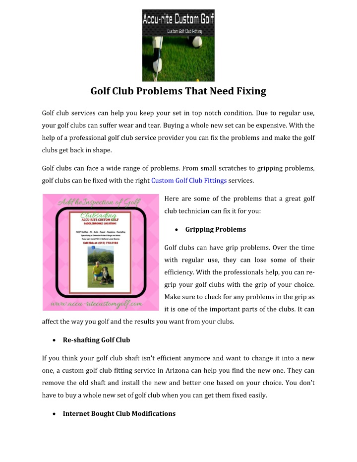 golf club problems that need fixing n.