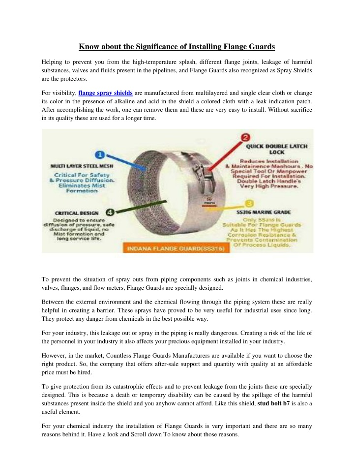 know about the significance of installing flange n.