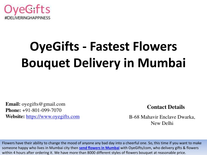oyegifts fastest flowers bouquet delivery in mumbai n.