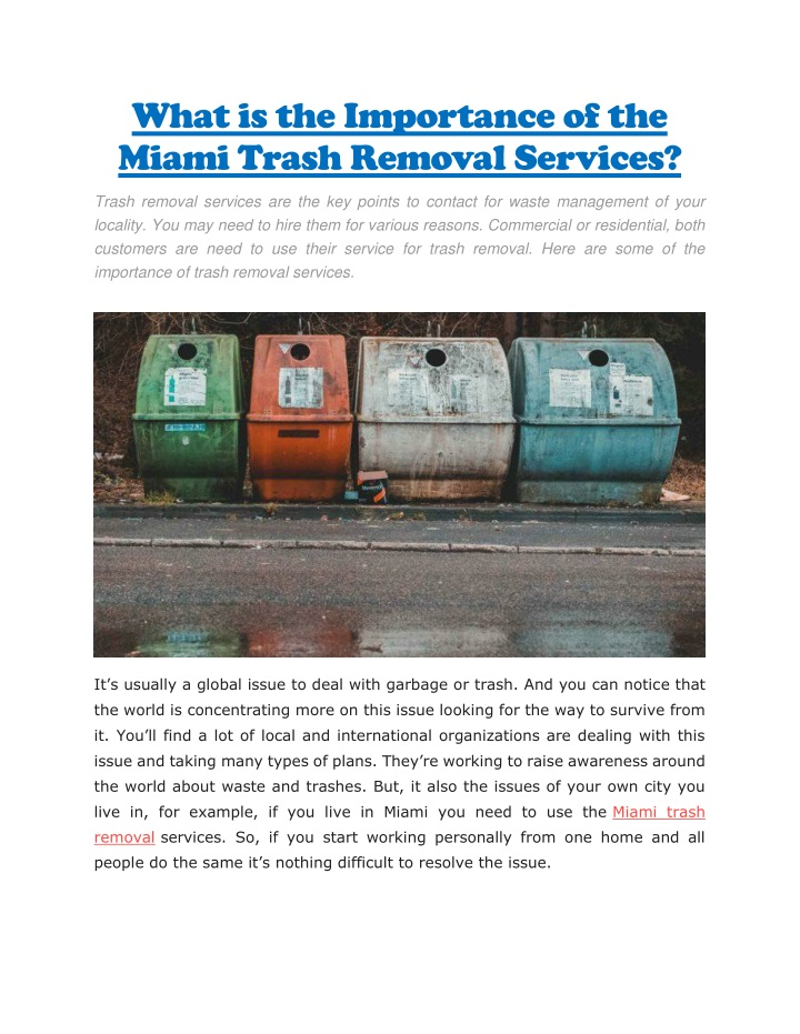 what is the importance of the miami trash removal n.