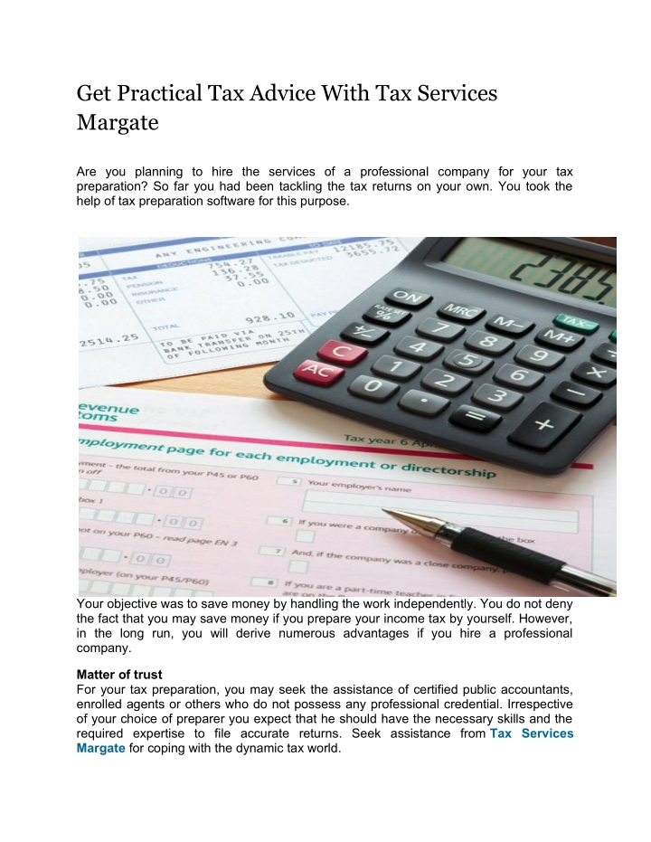 get practical tax advice with tax services margate n.